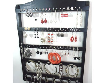 Jewelry Organizer Earring Holder,  Wall Mounted, Necklace Storage Earring Rack, Bracelet Organizer, Solid Oak Hardwood, Ebony Stained