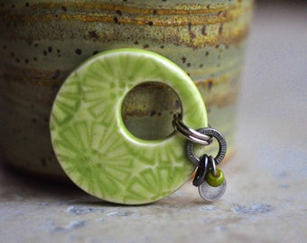 Kiwi Lime Green Ceramic Pendant, Porcelain with celadon glaze, Modern Chunky Flower Design