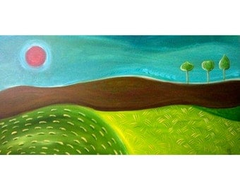 Red Moon Original Painting 24 x 48 Rectangle Abstract Landscape