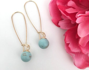 turquoise drop earrings - turquoise jewelry - bohemian jewelry - gifts for her - girls gift - jewelry gift - dangle earrings - handmade gift