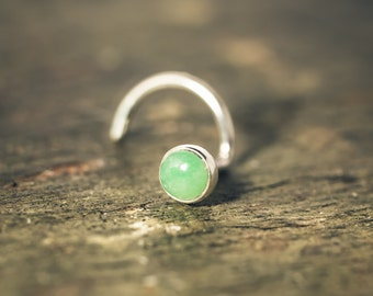 Delicious Chrysoprase Nose Stud/Tragus Stud/Earrings, Lovingly Bezel Set in Solid Sterling Silver (3mm Cabochon)