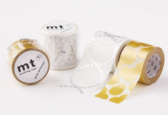 mt mina perhonen tambourine grande silver washi masking tape from washimatta on etsy studio. Black Bedroom Furniture Sets. Home Design Ideas