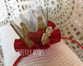 "QUEEN of HEARTS CROWN Headband with Red Heart, Gold Bow and Red Ruffle-Approximately 2""x2"""