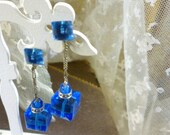 Stunning Blue Austrian Crystal Earrings and Sterling Silver Screwbacks
