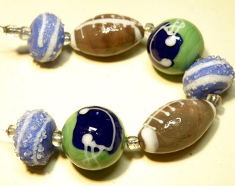 "DESTASH -- 5"" Strand Lampwork Beads: Football Theme --- Lot 3E"