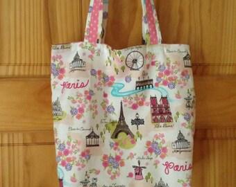 Paris Tote Bag, Library Bag, Book Bag, Little Girl Cute Gift, ready to ship