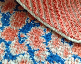Faux Chenille Baby Girl Blanket, Coral and Blue Floral plus 4 layers of flannel