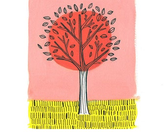 Pink and Yellow Tree Illustrated Print  of Original 8.5x11in