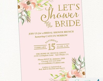 Blush and Gold Bridal Shower Invitation | Rustic Bridal Shower, Boho Bridal Shower, Bohemian Bridal Shower,  Floral Bridal Shower, Flower