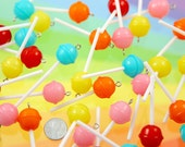 Fake Lollipops - 20mm Little Lollipop Round Plastic Pendants or Resin Charms - 5 pc set