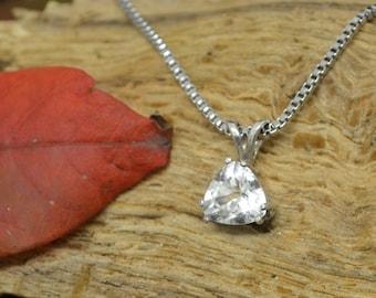 White Topaz Necklace Sterling Silver Pendant Necklace April Topaz Birthstone