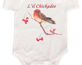 Lil Chickadee Bird One Piece Baby Girl Romper by Mumsy Goose Newborn Rompers to Girly Tees