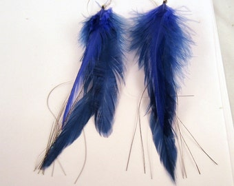 Blue Feather Earrings dangler with flash