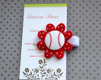 Base Ball Felt Flower Clip