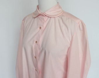 70's Pink Cotton Blouse / Peter Pan Collar / Long Sleeves / Medium
