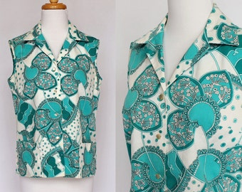 60's / 70's Sleeveless Cotton Blouse / Paisley Print / Button Front / Overblouse /  Small
