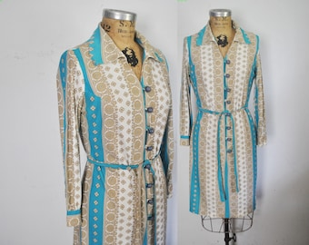 1970s Day Dress / boho / Small