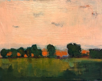 "Goodnight with Orange Light - Original Acrylic Oil Encaustic Landscape Painting- 12""x 9"""