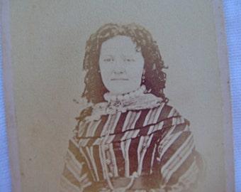 Antique Vintage cdv Carte de Visite Vista 1860s Photograph Civil War Woman Image Victorian Photo Striped Dress Long Hair Curled worn Down