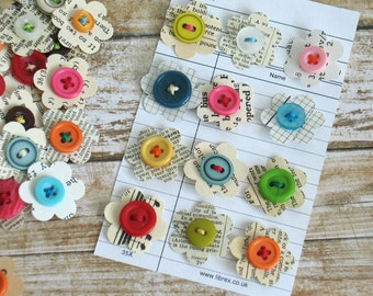 Paper Dots - Vintage Paper Flowers, Scrapbook Junk Journal Smash Book Planner Embellishments, Scrapbook Paper Craft Flowers Set of 12
