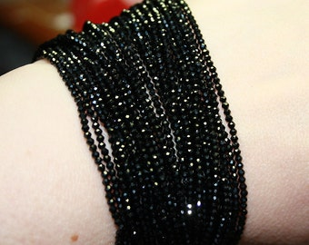 "CRAZY Sparkle Black Spinel Tiny 1.8-2mm Micro Faceted Round Rondelle Beads 6.5"" strand"