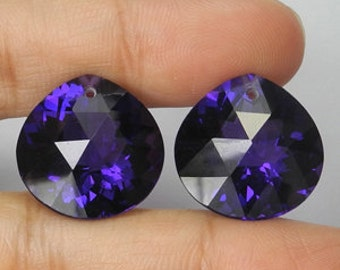 HUge AAA Gem Purple Amethyst 20 X 15.9 X 10mm Faceted Wide Pear Heart Briolette Drop Beads Pendant Focal Matching Pair