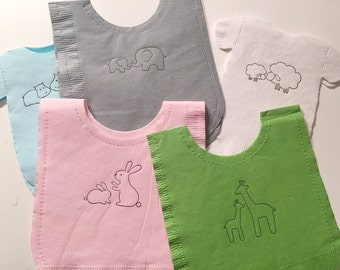 Pack of 30 any color Baby shower shirt or bib shaped NAPKINS.  Each with adorable mommy & baby animals.