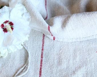 B 397: grainsack, Antique linen, FRENCH RED; pillow cushion;  upholstering; bathmath,곡물 자루  tablerunner, christmas, thanksgiving