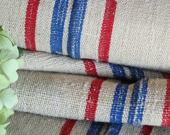 R 378 antique hemp linen roll french RED  and BLUE천 grainsack fabric 4.80yards wedding decor lin 20.08wide