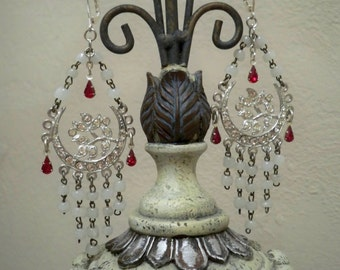 Chandelier assemblage earrings - Rosary chains and red glass teardrops - One of a Kind bycat