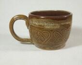 Large Brown Celtic Mug, Soup Mug, Large Coffee Mug,  Handmade Pottery