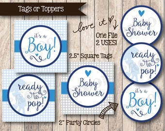 Instant Download . Printable Ready to Pop Tags, Printable It's a Boy Baby Shower Favor Tags or Toppers