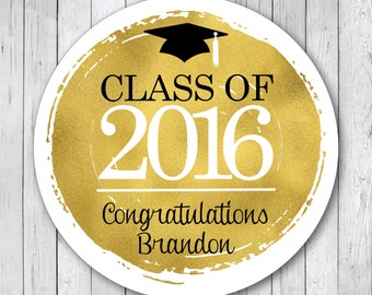 Personalized Gold Foil Graduation Stickers, Class of 2016 Stickers