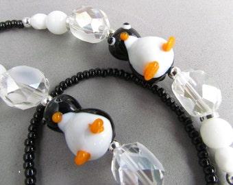 Black Penguin ID Lanyard, Handmade by Harleypaws, SRAJD