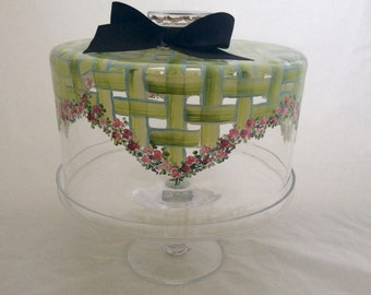Hand Painted Glass Cake Dome with Stand