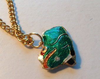 Painted green frog necklace