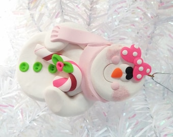 Snowman Christmas Ornament - Snow Girl with Candy Cane Ornament - Snowman Gift - Keepsake Ornament - Snowman Collector Ornament - 4063