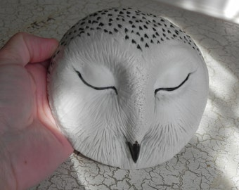 porcelain snowy owl mask, wallhanging, sculpture, black and white owl