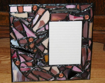 Purple and Pink Recycled Stained Glass Mosaic Picture Frame (holds a 5 x 7 photograph)
