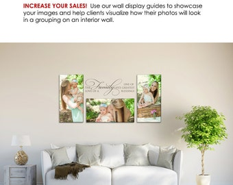 Photography Wall Display Guide - White Sun Room - (3) Photoshop Layered .psd Templates - Sun Room backdrop & image displays.