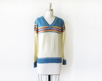 vintage 70s sweater, v neck striped cable knit sweater, small pullover sweater