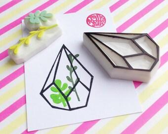 geometric terrarium rubber stamp set. succulent terrarium hand carved rubber stamps. glass planter stamp. diy birthday crafts. set of 3. no1
