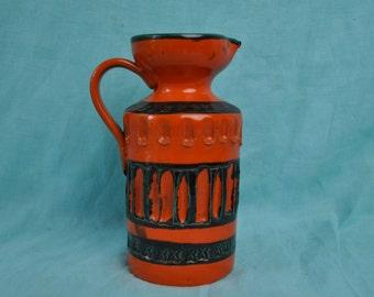 Vintage Raymor Bitossi Pitcher Vase/Vintage 1970s/Modernist Slash Style/Orange Red and Brown