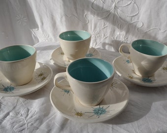 MCM Turquoise China Tea Cups With Franciscan Starburst Saucers/Vintage 1950s/Four Mid Century Modern Pottery Coffee Cups and Saucers