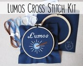 Harry Potter Cross Stitch Kit - Lumos. Embroidery Hoop Wall Art Stitched Text Potterhead Magic Xstitch Magic Wand Light Spell Illuminate