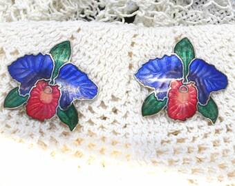 Vintage Cloisonne Post Earrings - Brilliant colored Flowers