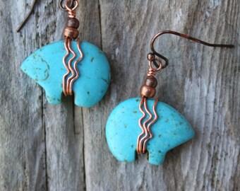 Bear Fetish Earrings, Boho Turquoise earrings, Southwestern Jewelry