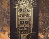 Detroit Monolith (black and gold) - 12x24 poster