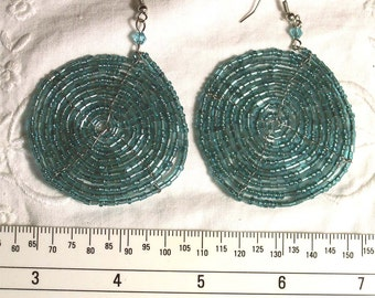 Vintage Jewelry Round Dangle Earrings Beaded on Wire with Aqua & Turquoise Beads