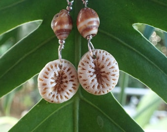 Hawaii Mushroom coral and sea shell earrings